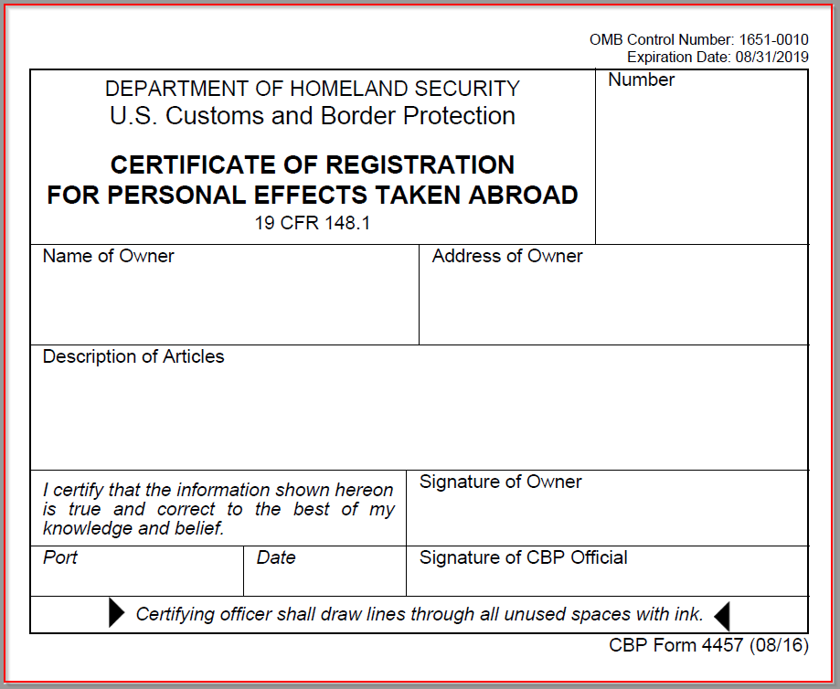 Hunters' Support - UPDATE: US Customs CBP Form 4457